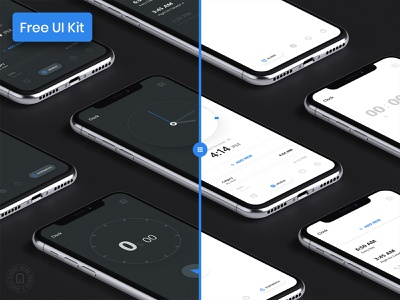 Clock App - UI Kit for Free Download adobe xd sketch xd adobe light theme dark theme dark ui app ui app design mobile ui animation timer stopwatch app clockapp uikit kit ui free
