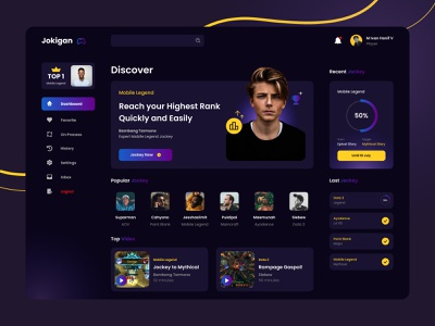 Game Online Jockey Dashboard Exploration - Jokigan game online jockey game web design web ux design app uidesign uiux ui ui design