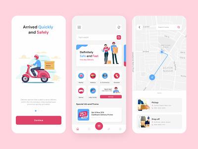 Delivin - Delivery Service Application Exploration ux mobile delivery illustration design app uidesign uiux ui ui design