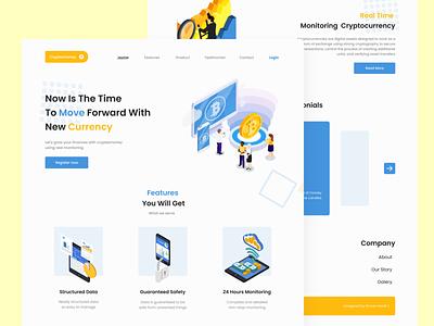 Cryptezmoney - Cryptocurrency Landing Page Exploration currency crypto landing page web illustration ux design uiux uidesign ui app ui design