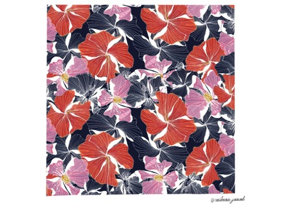 Mayflower seamless hibiscus digital pattern digital art textile pattern pattern flower illustration flowers mayflower design art illustration graphic design