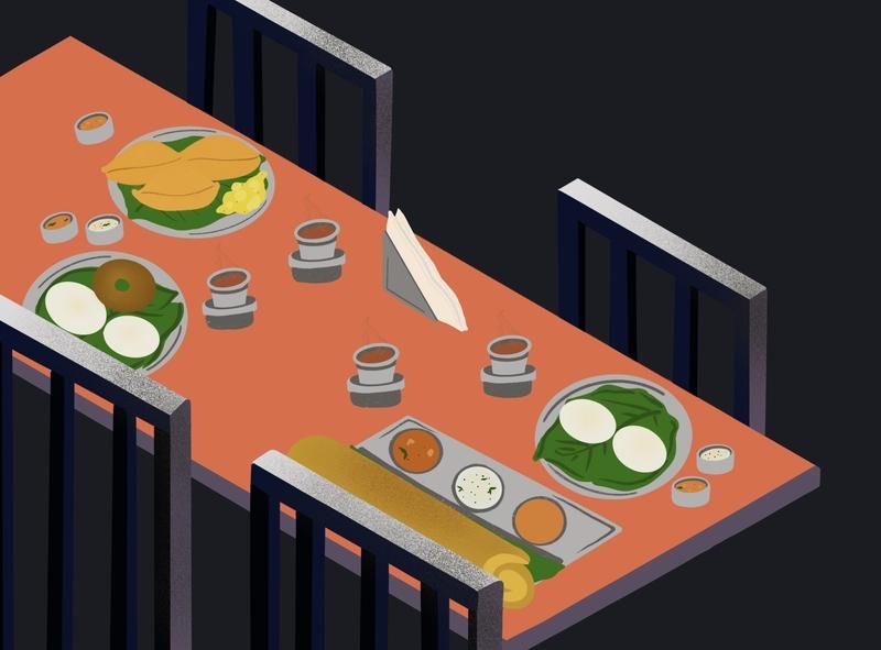 South Indian Breakfast Table iconography branding artwork app illustrator illustration art art design illustration graphic design