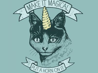 Magic Cat cat horn mythical unicat put a horn on it eyes