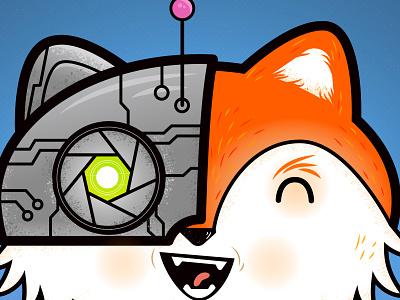 ROBOfox robot happy graphic character illustration