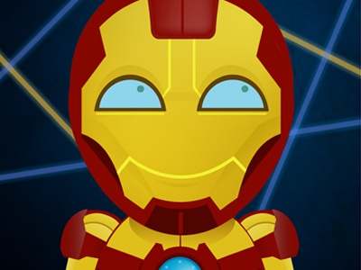Superhero Elementary: Iron Man gold illustration hero comics marvel