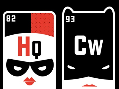 Elements 82 and 93 Catwoman Harley Quinn illustration vector harley quinn catwoman hero funny science