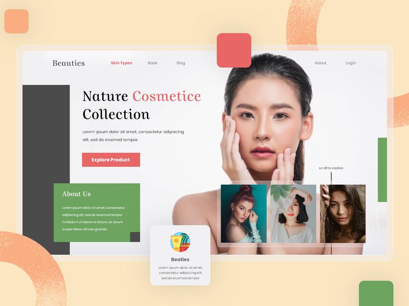 Beauties - Hero Landing Page design uidesign ui ux userinterface illustration user experience ui design user interface