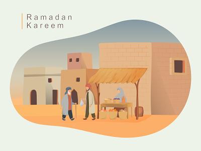 Ramadan scene 3 vintage landscape scene iedul mubarak ramadan fasting iftar market arabic character design banner branding ux website ui flat vector illustration