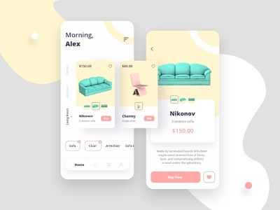 Nola - Furniture App shopping ecommerce mobile house home property minimalist branding pastel interior app ux ui chair sofa 3d android ios furniture