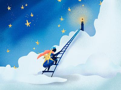 A star watcher lighthouse calendar character characterdesign illustration