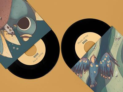 Bird illustrations music package vinyl illustration bird