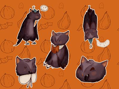 Halloween Sticker Pack autumn october halloweenmood halloween bat character design stickerpack stickers graphic design character illustration