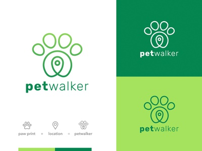 PETwalker minimal vector pets brand identity logodesign logotype branding logo design