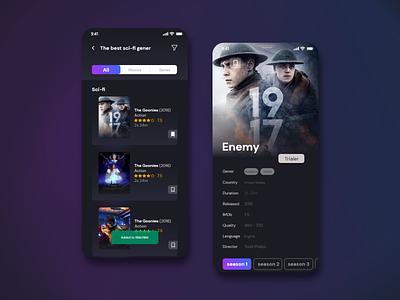 Movie app user interface purple minimal simple design dark mode dark app app clean ui web illustration website design ui