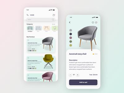 Furniture Shop App user interface color clean ui simple design website branding minimal app design web ux ui