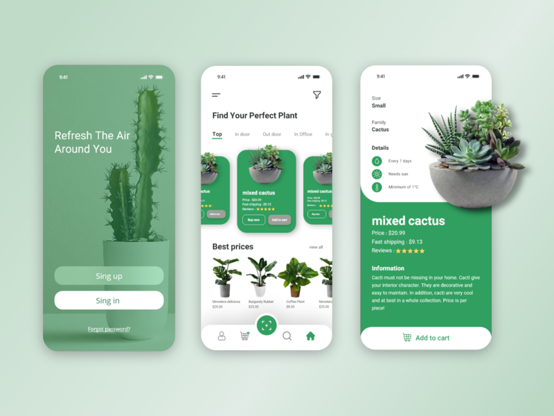 Plant App web website ux app design ui