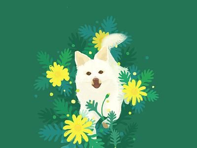Happy creative dribbble poster digital art book ui graphicdesign lohas love nature flower visual dog illustration animal