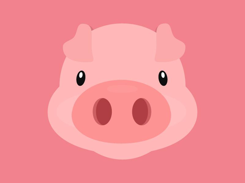 Pig flat pig design free illustration freebie psd ai flatdesign animal pink