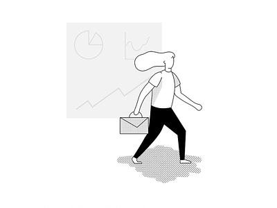 Business Woman woman illustration walking woman business ipad pro illustration