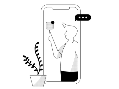 App User - Monochrome product illustration ipad pro illustration