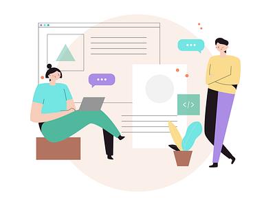 Productivity Scene - DrawKit Peach Kit discussion collaboration work office drawkit illustration