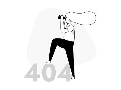 Error 404 Monochrome drawkit illustration