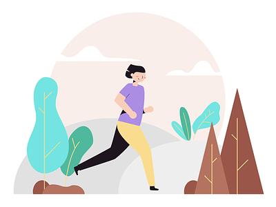Running Woman Illustration outdoor jogging running vector drawkit illustration