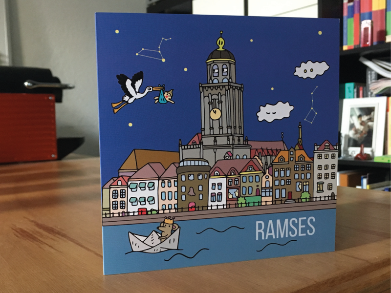 Ramses Birthcard illustration art illustrator houses stork baby skyline deventer birthcard