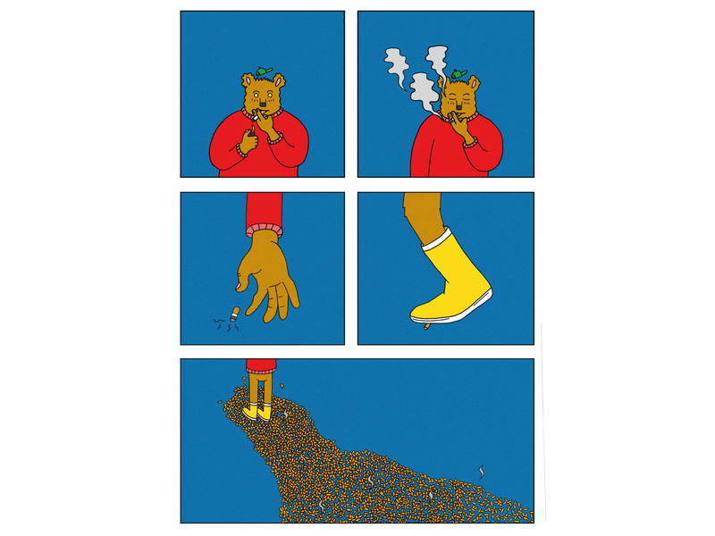 Smokeylane environment garbage path danger sigarets comic photoshop illustration digital illustration art illustration smokey