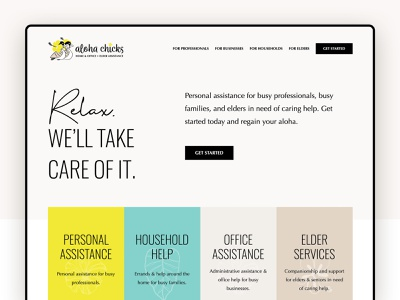 Aloha Chicks Website Hero san luis obispo entrepreneur coconut ducks aloha nene hawaii yellow marketing hero ui website designer website design