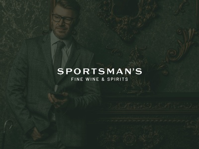 Sportsman's Fine Wine & Spirits startup entrepreneur gentleman mid century spirits wine logo design logo typography logo branding luxury