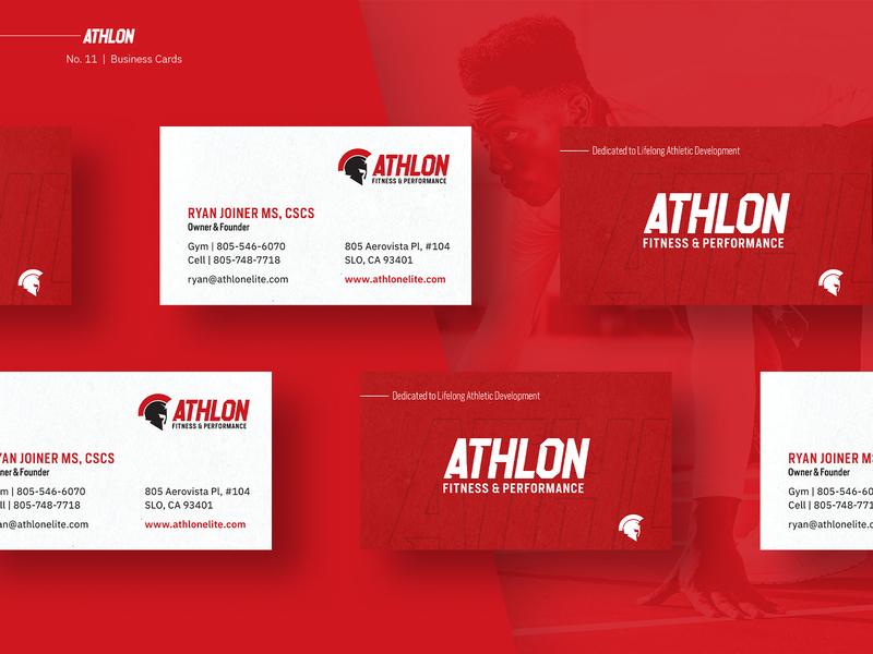 Athlon Brand Refresh spartan sports business cards greek helmet fast red health fitness gym greek branding logo