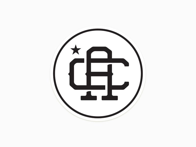 CA Monogram minimal sticker clean retro vintage black and white cali california monogram