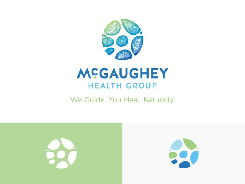 McGaughey Health Group naturopathy logo branding central coast slo doctor gradient brain neuron natural mesh medical health