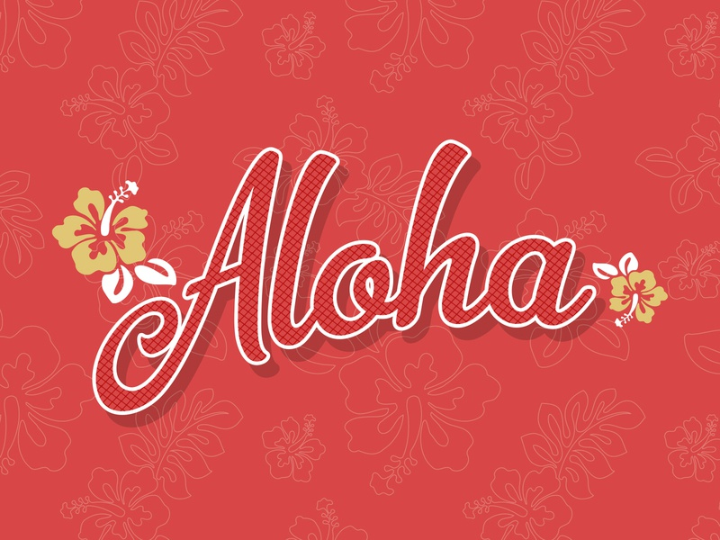 Aloha central coast branding beach retro tropical hibiscus hawaii aloha