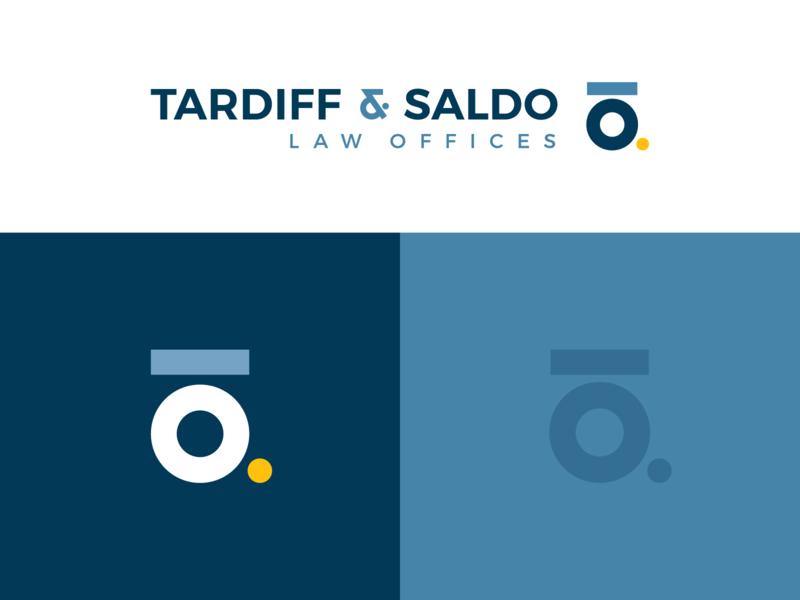 Tardiff Saldo slo central coast branding monogram logo circle ampersand yellow dot blue minimal lawyer