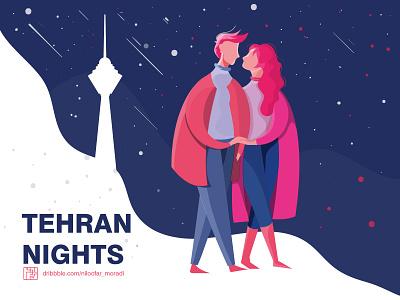 TEHRAN NIGHTS animation minimal icon graphic flat vector ui illustration design illustrator