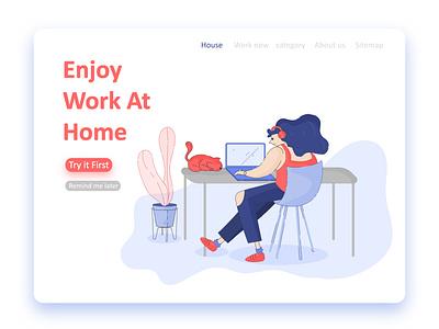 Enjoy Work At Home design photoshop app web icon flat ux ui illustration illustrator