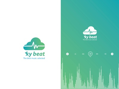 Sky beat Logo icon minimal app web vector illustrator typography flat ui logo