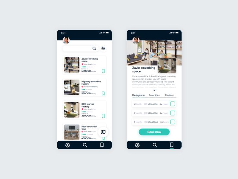 Coworking space booking app design booking app uidesign