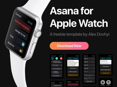 Asana For Apple Watch progress management task product free watchos template apple watch freebie