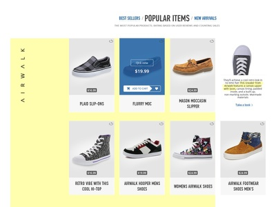 AIRWALK Website Re-design minimal ux ui bestseller shoe redesign shop ecommerce commerce store