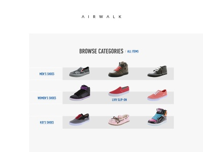 Airwalk Categories minimal ux ui bestseller shoe redesign shop ecommerce commerce store