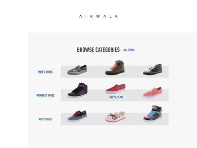 Airwalk Categories minimal ux ui bestseller shoe redesign shop ecommerce commerce store