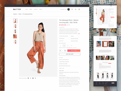 Matterprints Product Page single page product minimal ux ui shop ecommerce commerce store