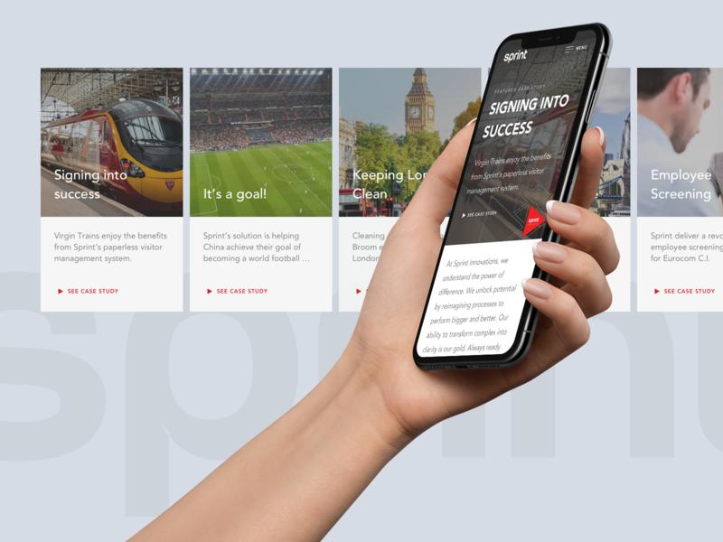 Sprint Innovation · Mobile Website hand studio agency work website mobile freelance design minimal clean ux ui
