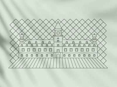 The Royal Castle in Warsaw label illustration art geometric castle illustrator flatdesign adobe vector dogz creativeherd creative illustration design artwork art