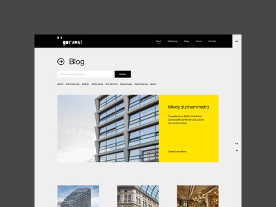 Garvest - Blog blog real estate typography uidesign webdesign minimalistic