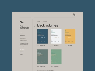 Folia Scandinavica Posnaniensia branding typography web uidesign webdesign minimalistic