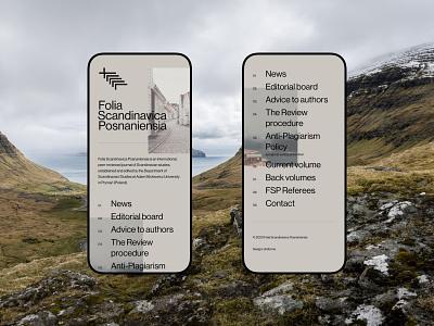 Folia Scandinavica Posnaniensia mobile branding typography web uidesign webdesign minimalistic